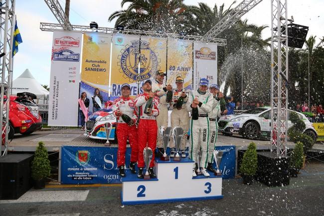 Podio: Paolo Andreucci, Anna Andreussi (Peugeot 208 T16 R3 #3); Giandomenico Basso, Lorenzo Granai (Ford Fiesta R5 LDI R5 #5, Movisport); Stefano Albertini, Danilo Fappani (Peugeot 208 R5 #2, Meteco Corse)